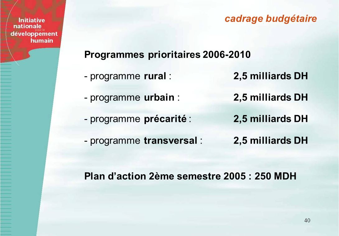 40 cadrage budgétaire Programmes prioritaires 2006-2010 - programme rural : 2,5 milliards DH - programme urbain : 2,5 milliards DH - programme précari