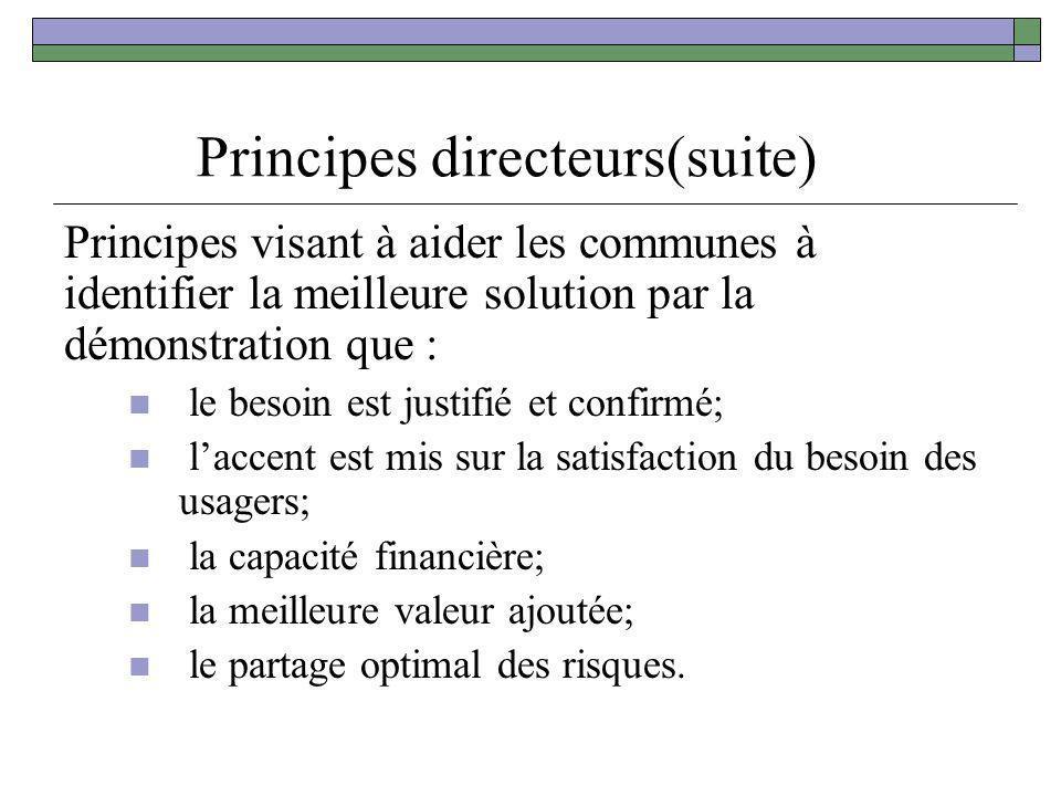 Principes directeurs(suite) Principes visant à aider les communes à identifier la meilleure solution par la démonstration que : le besoin est justifié