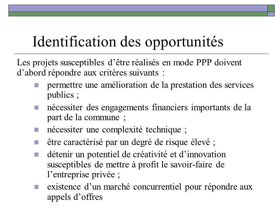 Identification des opportunités Les projets susceptibles dêtre réalisés en mode PPP doivent dabord répondre aux critères suivants : permettre une amél