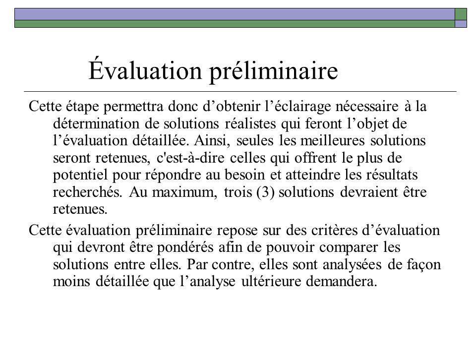 Évaluation préliminaire Cette étape permettra donc dobtenir léclairage nécessaire à la détermination de solutions réalistes qui feront lobjet de léval