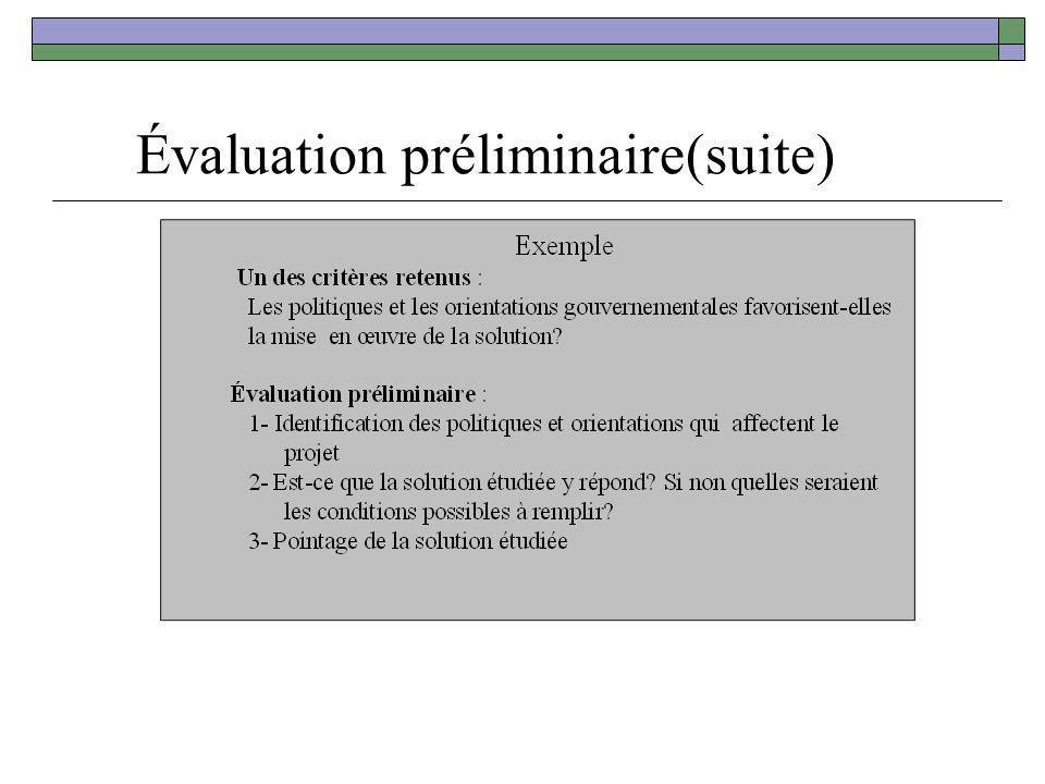 Évaluation préliminaire(suite)