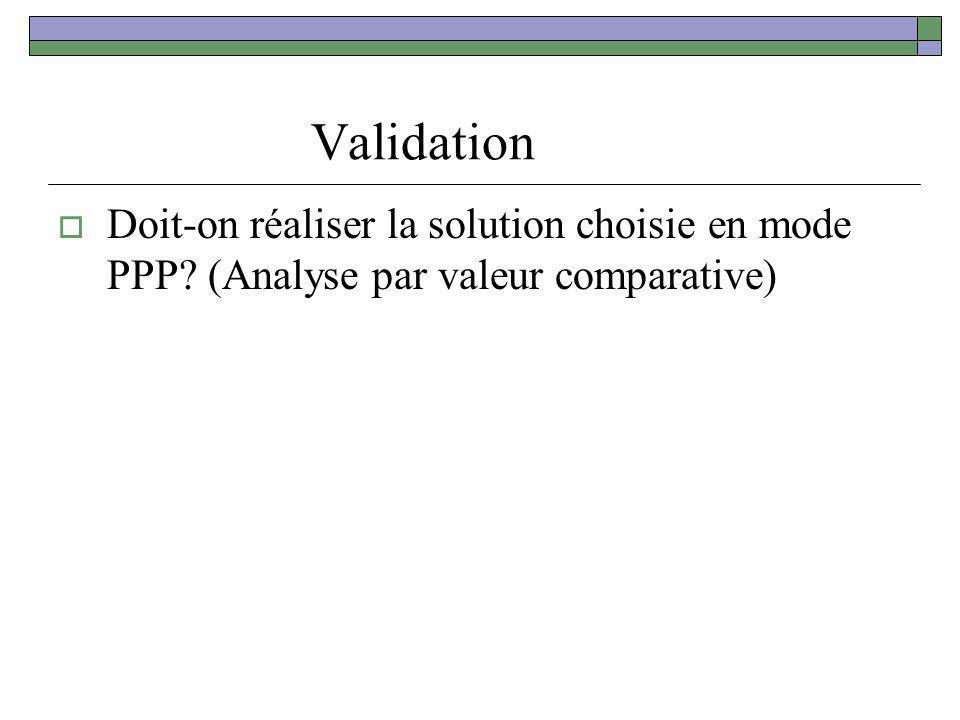 Validation Doit-on réaliser la solution choisie en mode PPP? (Analyse par valeur comparative)