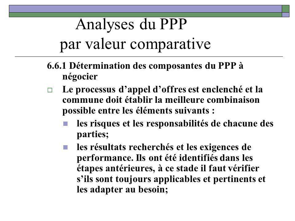 Analyses du PPP par valeur comparative 6.6.1 Détermination des composantes du PPP à négocier Le processus dappel doffres est enclenché et la commune d