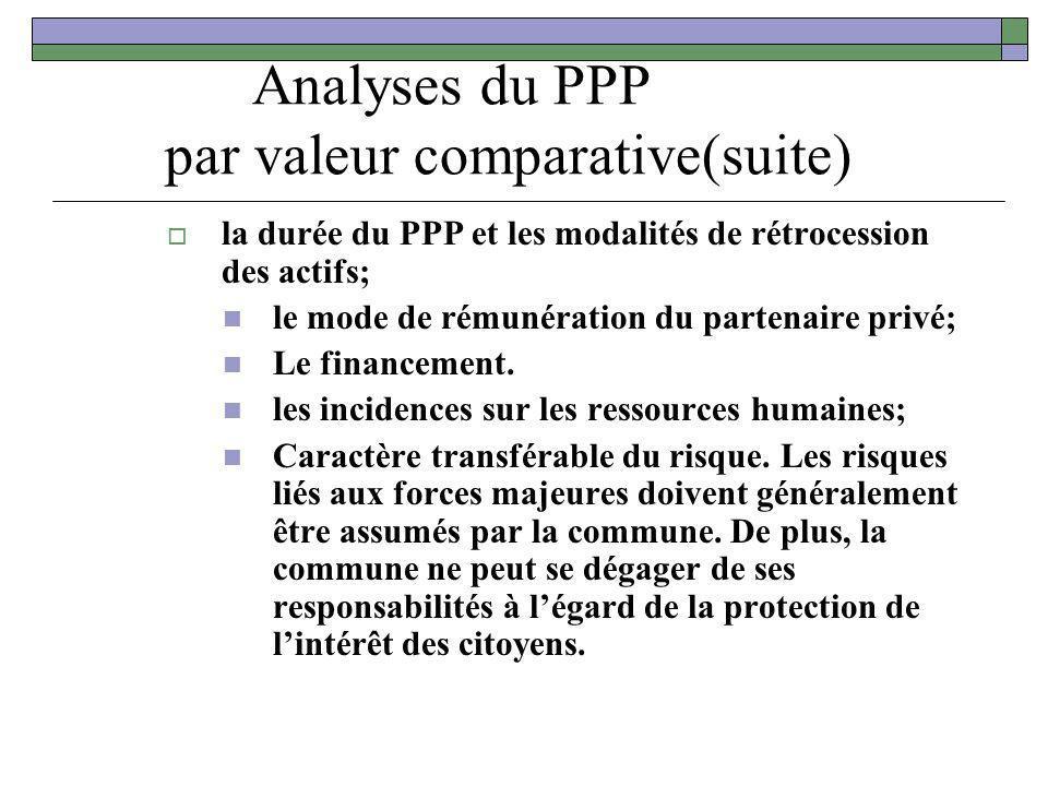 Analyses du PPP par valeur comparative(suite) la durée du PPP et les modalités de rétrocession des actifs; le mode de rémunération du partenaire privé