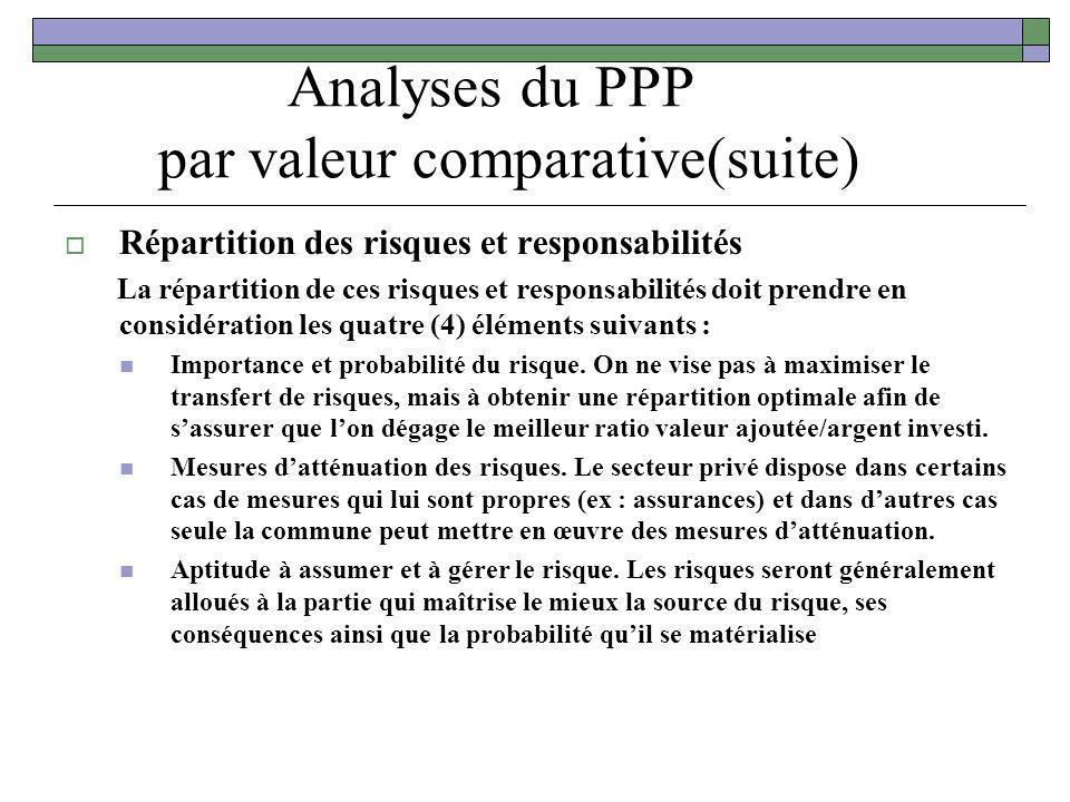 Analyses du PPP par valeur comparative(suite) Répartition des risques et responsabilités La répartition de ces risques et responsabilités doit prendre