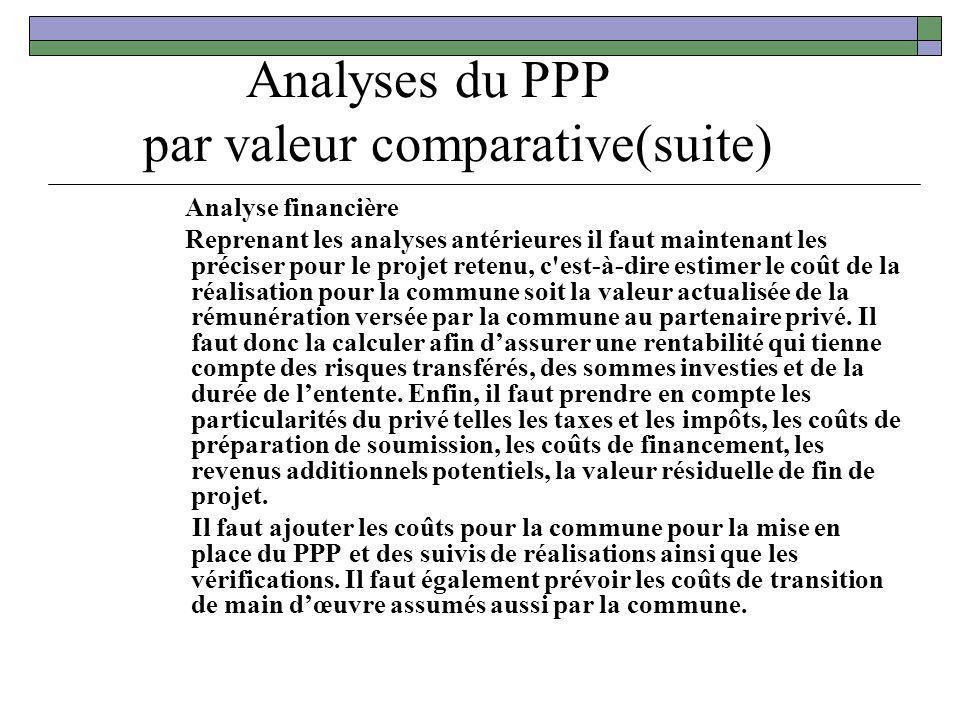 Analyses du PPP par valeur comparative(suite) Analyse financière Reprenant les analyses antérieures il faut maintenant les préciser pour le projet ret