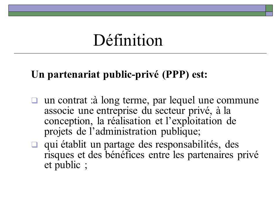 Définition Un partenariat public-privé (PPP) est: un contrat :à long terme, par lequel une commune associe une entreprise du secteur privé, à la conce