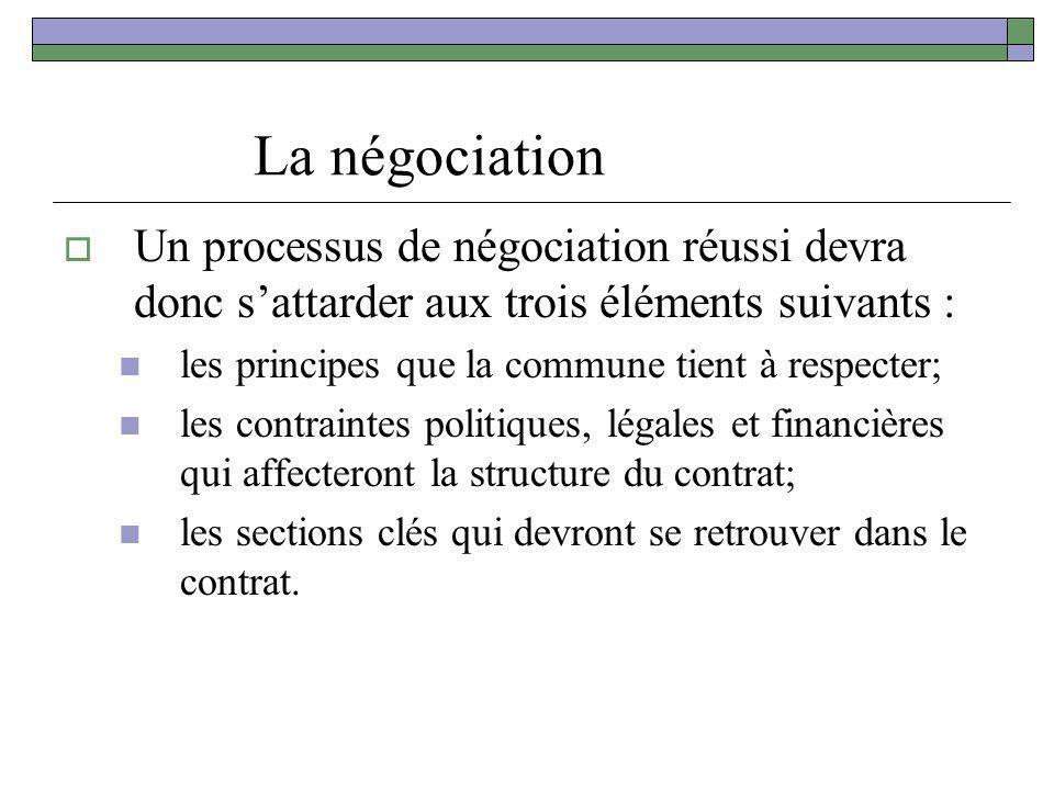 La négociation Un processus de négociation réussi devra donc sattarder aux trois éléments suivants : les principes que la commune tient à respecter; l