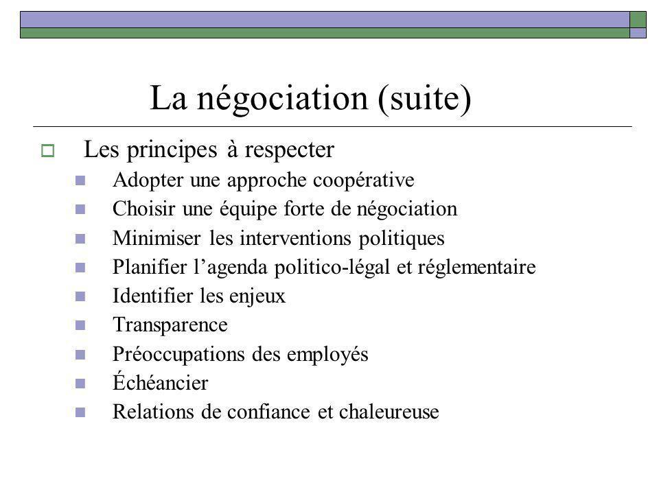 La négociation (suite) Les principes à respecter Adopter une approche coopérative Choisir une équipe forte de négociation Minimiser les interventions