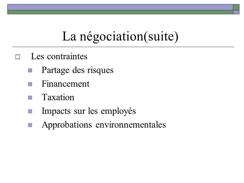 La négociation(suite) Les contraintes Partage des risques Financement Taxation Impacts sur les employés Approbations environnementales