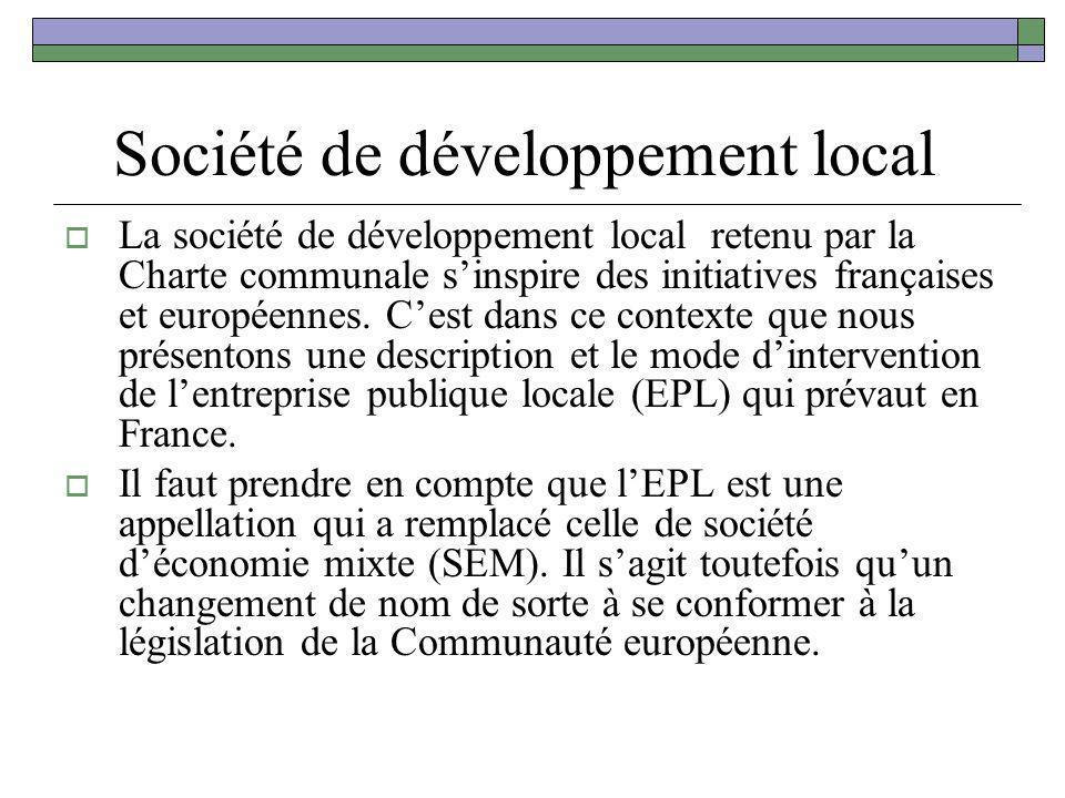 Société de développement local La société de développement local retenu par la Charte communale sinspire des initiatives françaises et européennes. Ce