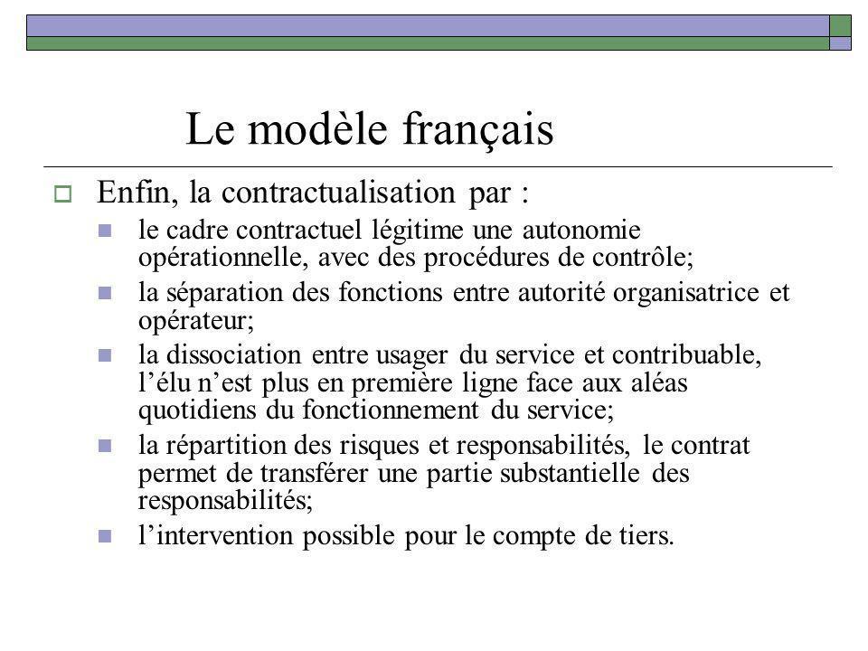 Le modèle français Enfin, la contractualisation par : le cadre contractuel légitime une autonomie opérationnelle, avec des procédures de contrôle; la
