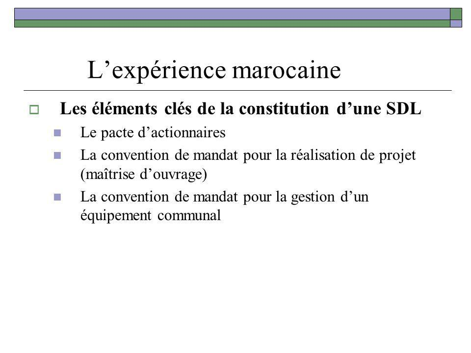 Lexpérience marocaine Les éléments clés de la constitution dune SDL Le pacte dactionnaires La convention de mandat pour la réalisation de projet (maît