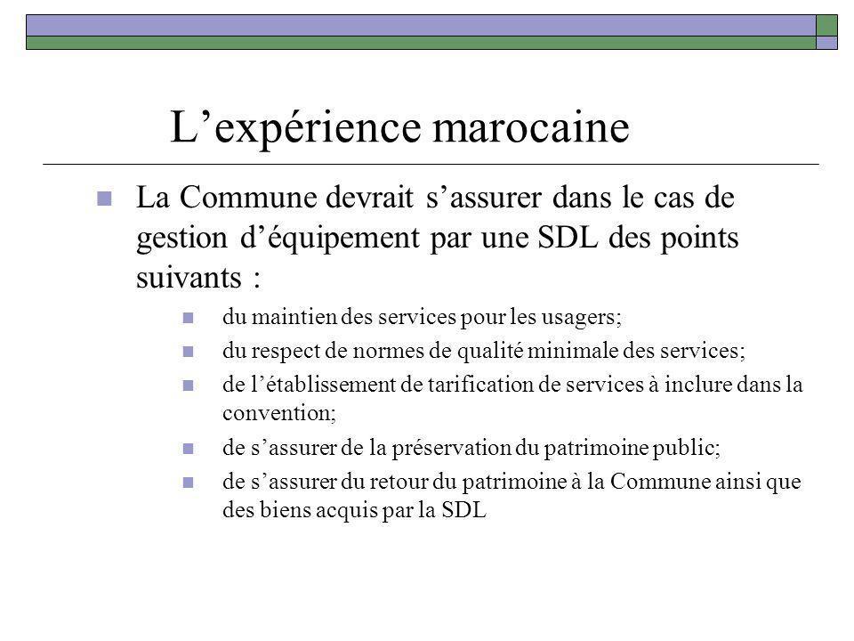 Lexpérience marocaine La Commune devrait sassurer dans le cas de gestion déquipement par une SDL des points suivants : du maintien des services pour l