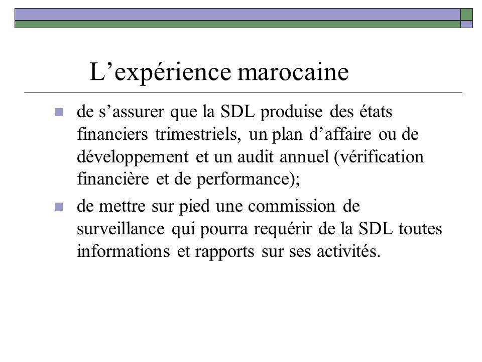 Lexpérience marocaine de sassurer que la SDL produise des états financiers trimestriels, un plan daffaire ou de développement et un audit annuel (véri