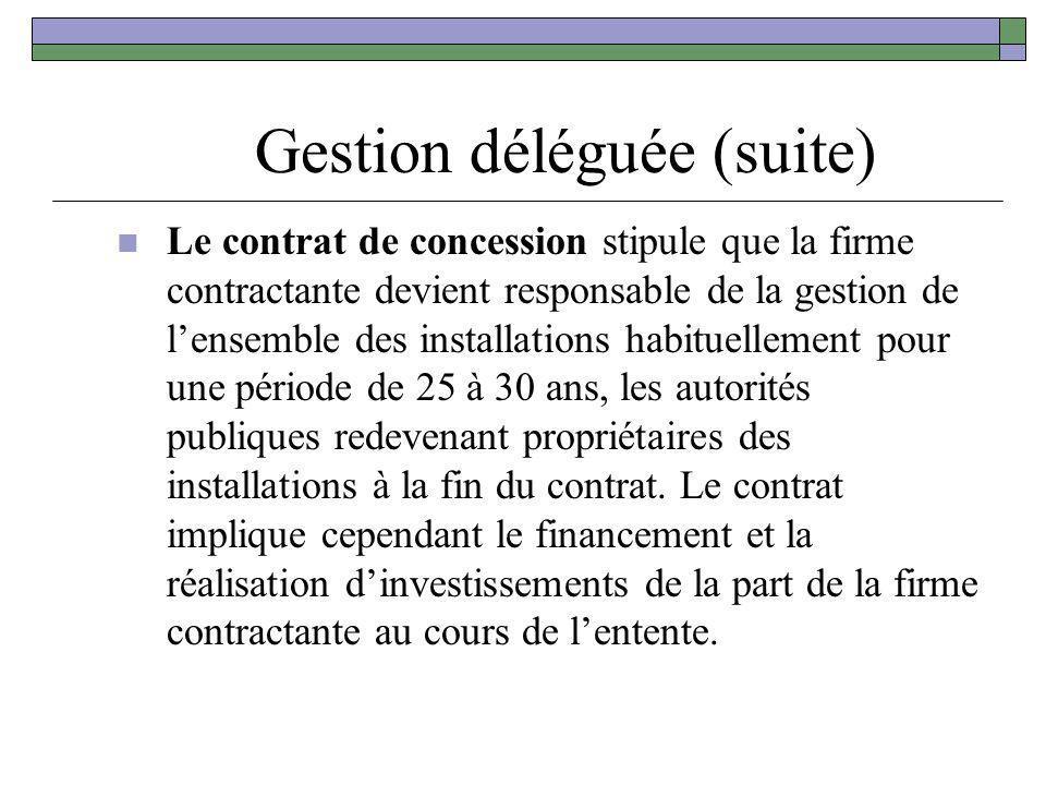 Gestion déléguée (suite) Le contrat de concession stipule que la firme contractante devient responsable de la gestion de lensemble des installations h
