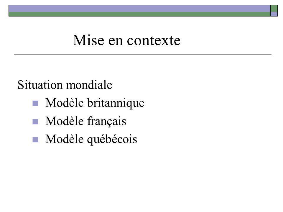Mise en contexte Situation mondiale Modèle britannique Modèle français Modèle québécois