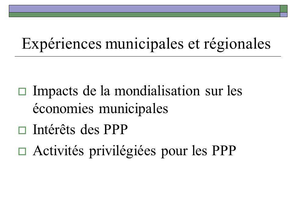Expériences municipales et régionales Impacts de la mondialisation sur les économies municipales Intérêts des PPP Activités privilégiées pour les PPP