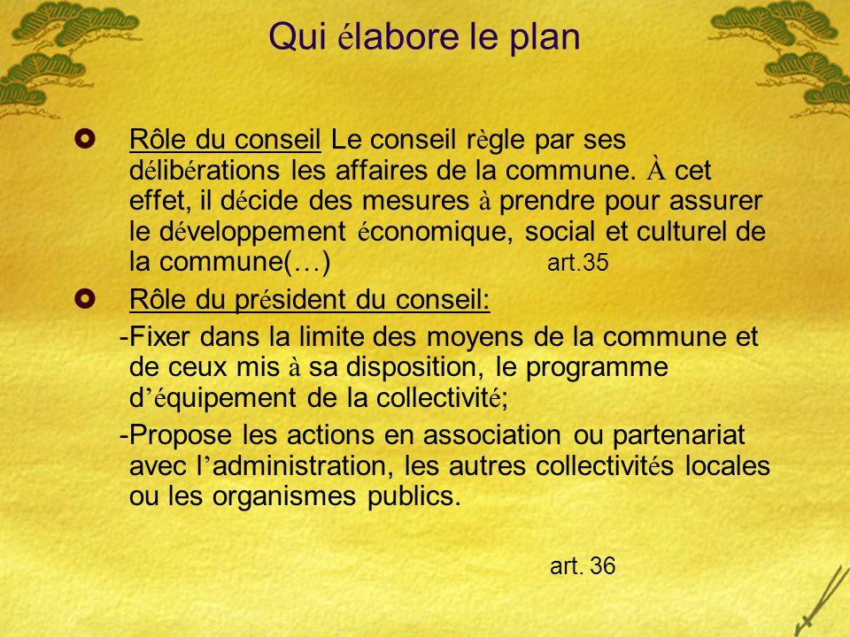 Qui é labore le plan Rôle du conseil Le conseil r è gle par ses d é lib é rations les affaires de la commune. À cet effet, il d é cide des mesures à p