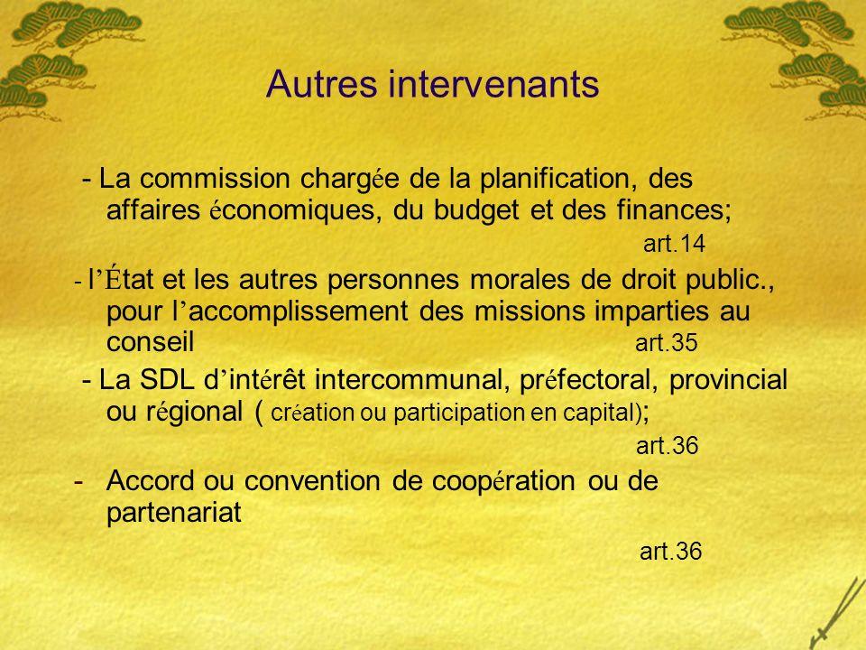Autres intervenants - La commission charg é e de la planification, des affaires é conomiques, du budget et des finances; art.14 - l É tat et les autre