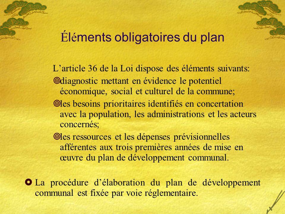 É l é ments obligatoires du plan Larticle 36 de la Loi dispose des éléments suivants: diagnostic mettant en évidence le potentiel économique, social e