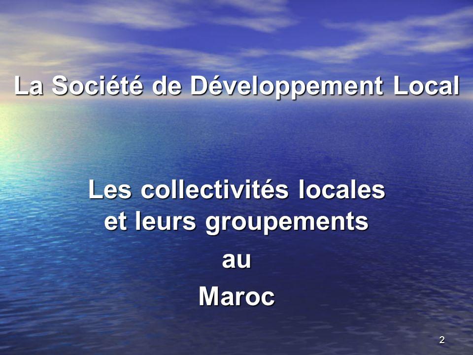 2 La Société de Développement Local Les collectivités locales et leurs groupements auMaroc