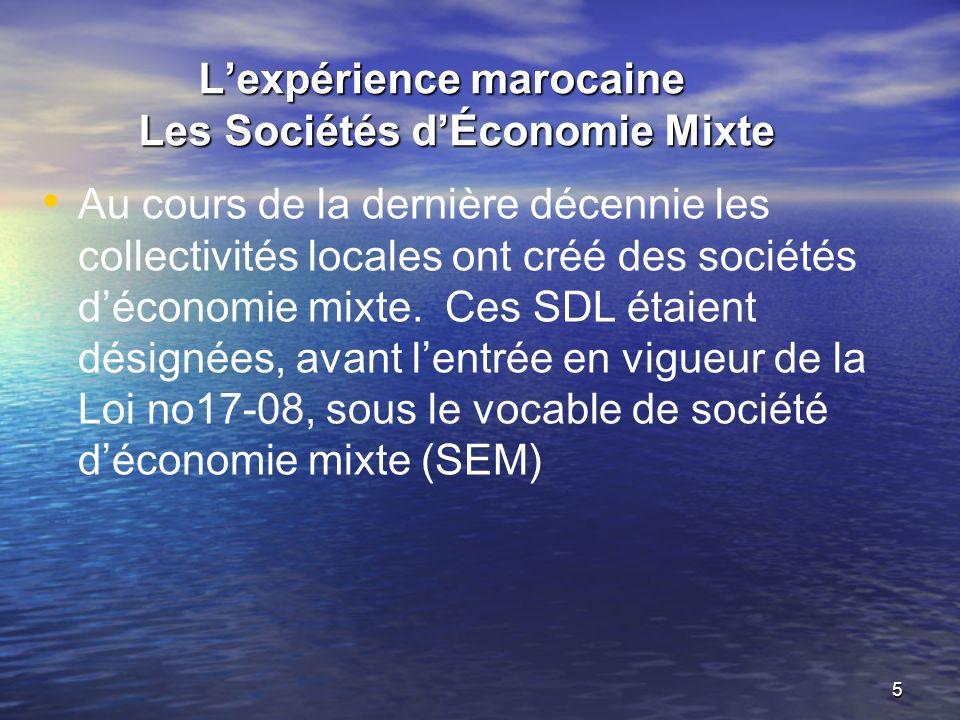 5 Lexpérience marocaine Les Sociétés dÉconomie Mixte Lexpérience marocaine Les Sociétés dÉconomie Mixte Au cours de la dernière décennie les collectivités locales ont créé des sociétés déconomie mixte.