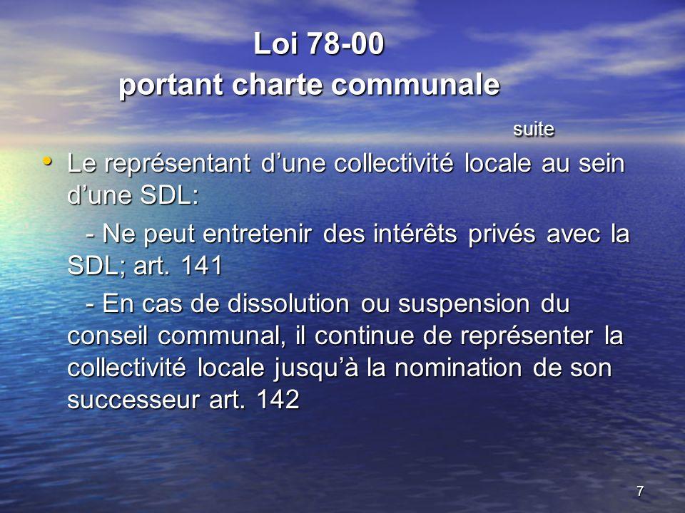 7 Loi 78-00 portant charte communale suite Loi 78-00 portant charte communale suite Le représentant dune collectivité locale au sein dune SDL: Le représentant dune collectivité locale au sein dune SDL: - Ne peut entretenir des intérêts privés avec la SDL; art.