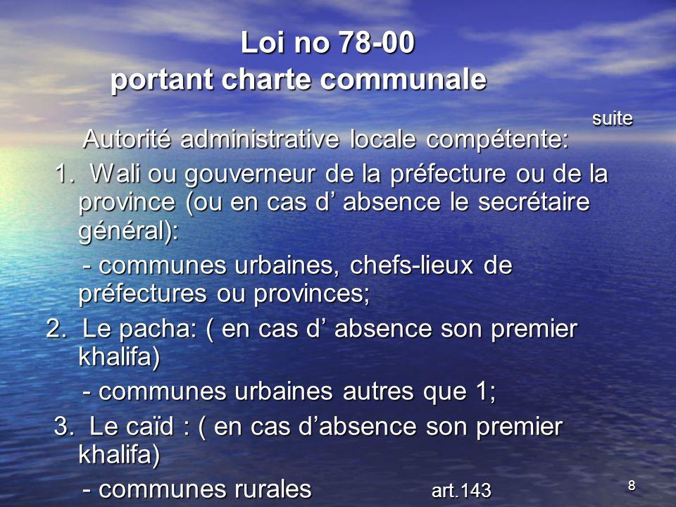 8 Loi no 78-00 portant charte communale suite Loi no 78-00 portant charte communale suite Autorité administrative locale compétente: Autorité administrative locale compétente: 1.