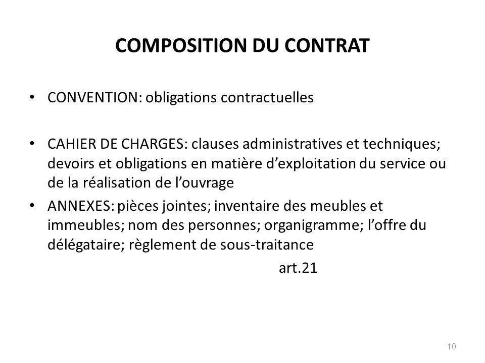 COMPOSITION DU CONTRAT CONVENTION: obligations contractuelles CAHIER DE CHARGES: clauses administratives et techniques; devoirs et obligations en mati