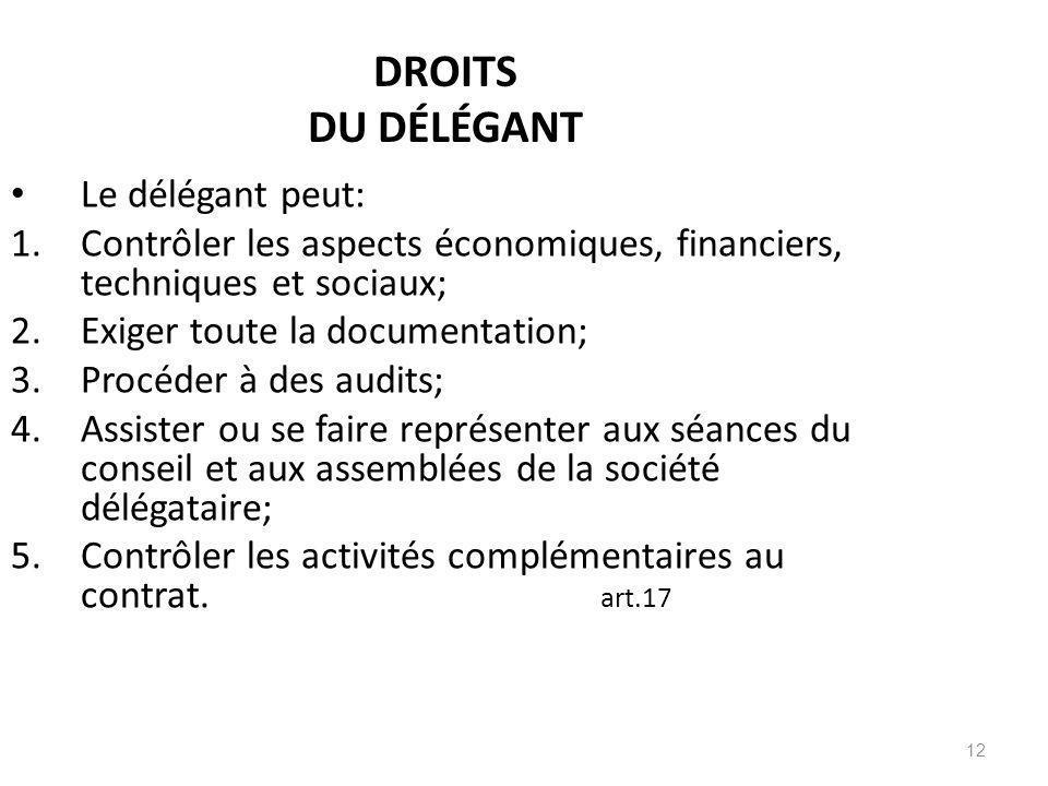 12 DROITS DU DÉLÉGANT Le délégant peut: 1.Contrôler les aspects économiques, financiers, techniques et sociaux; 2.Exiger toute la documentation; 3.Pro