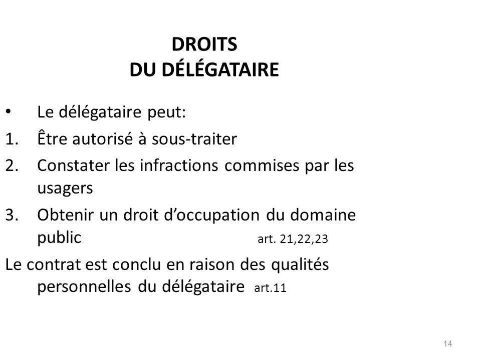 14 DROITS DU DÉLÉGATAIRE Le délégataire peut: 1.Être autorisé à sous-traiter 2.Constater les infractions commises par les usagers 3.Obtenir un droit d