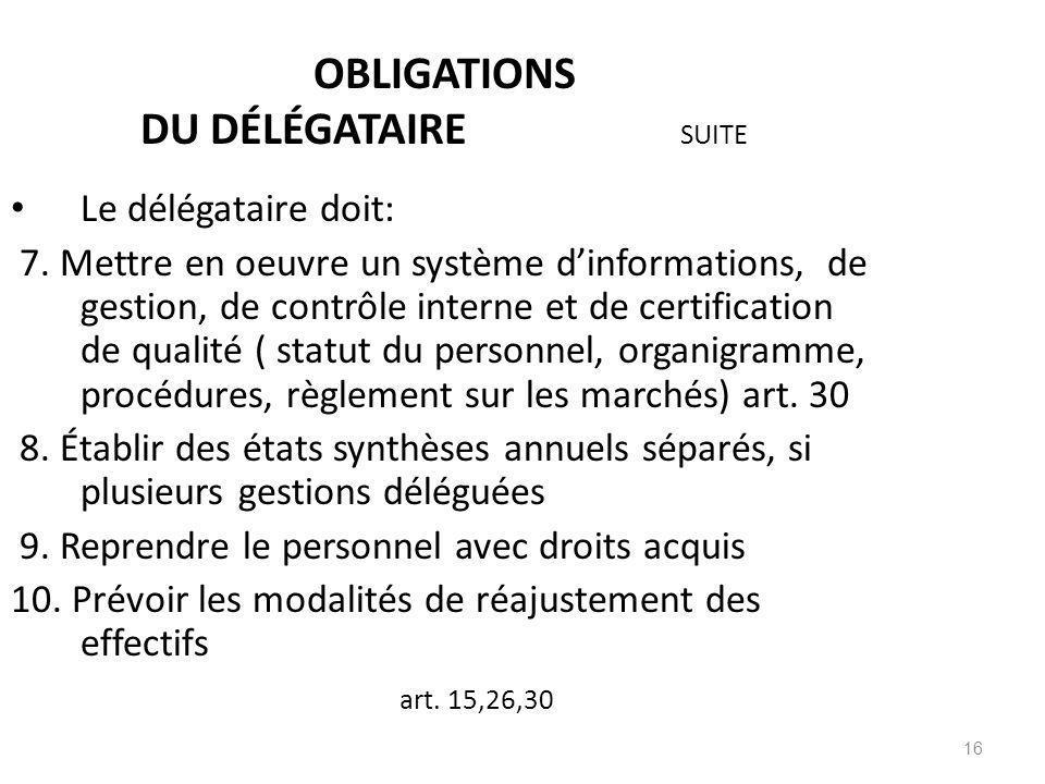 16 OBLIGATIONS DU DÉLÉGATAIRE SUITE Le délégataire doit: 7. Mettre en oeuvre un système dinformations, de gestion, de contrôle interne et de certifica