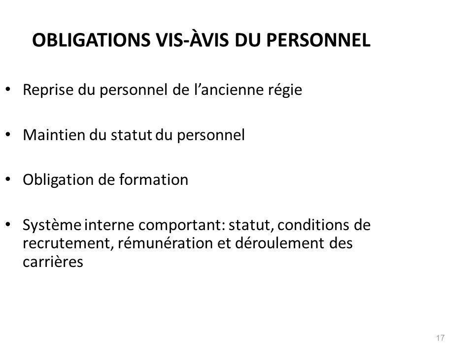 17 OBLIGATIONS VIS-ÀVIS DU PERSONNEL Reprise du personnel de lancienne régie Maintien du statut du personnel Obligation de formation Système interne c