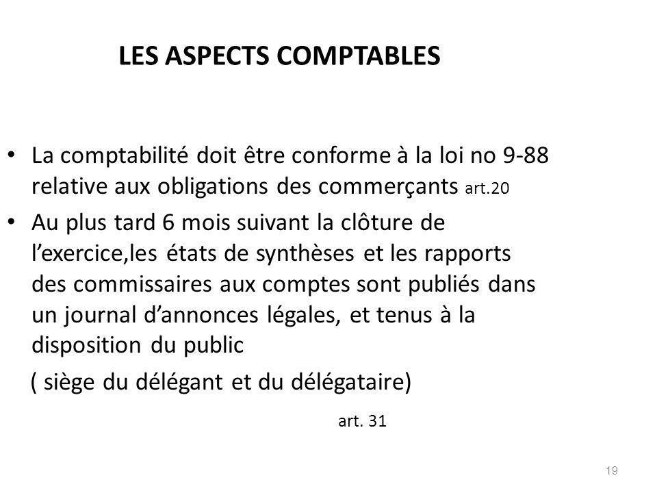 19 LES ASPECTS COMPTABLES La comptabilité doit être conforme à la loi no 9-88 relative aux obligations des commerçants art.20 Au plus tard 6 mois suiv