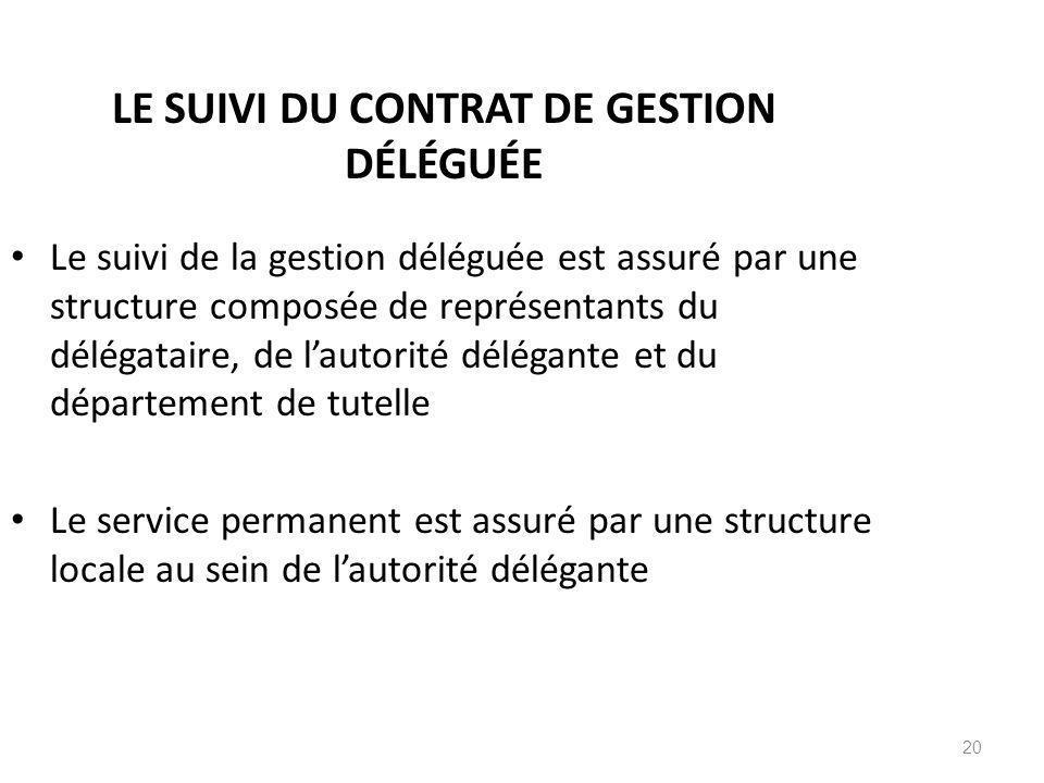 20 LE SUIVI DU CONTRAT DE GESTION DÉLÉGUÉE Le suivi de la gestion déléguée est assuré par une structure composée de représentants du délégataire, de l