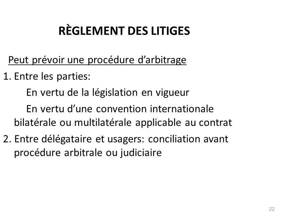 22 RÈGLEMENT DES LITIGES Peut prévoir une procédure darbitrage 1.Entre les parties: En vertu de la législation en vigueur En vertu dune convention int