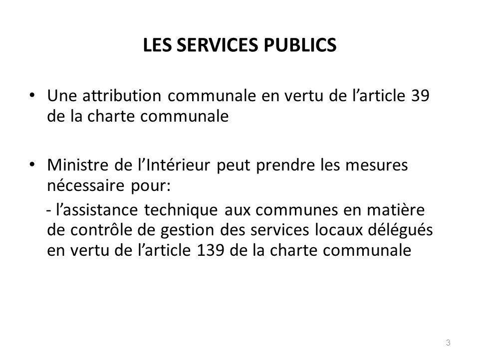 LES SERVICES PUBLICS Une attribution communale en vertu de larticle 39 de la charte communale Ministre de lIntérieur peut prendre les mesures nécessai