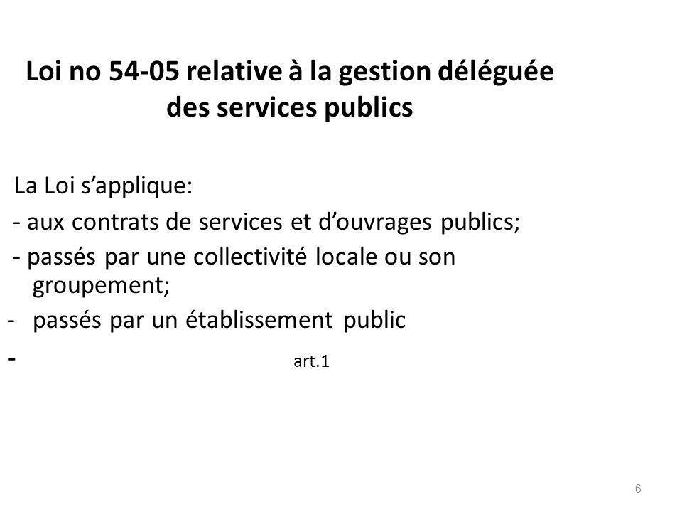 6 Loi no 54-05 relative à la gestion déléguée des services publics La Loi sapplique: - aux contrats de services et douvrages publics; - passés par une