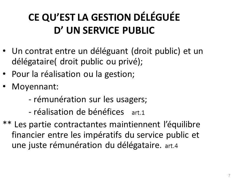 7 CE QUEST LA GESTION DÉLÉGUÉE D UN SERVICE PUBLIC Un contrat entre un déléguant (droit public) et un délégataire( droit public ou privé); Pour la réa