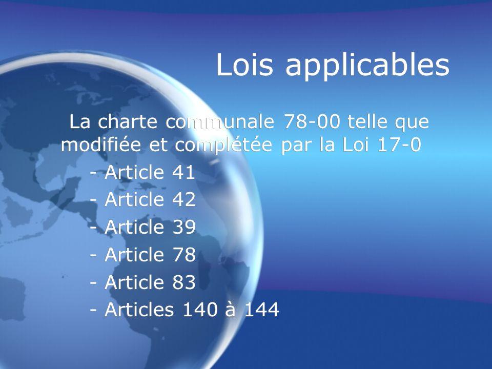 Lois applicables La charte communale 78-00 telle que modifiée et complétée par la Loi 17-0 - Article 41 - Article 42 - Article 39 - Article 78 - Artic