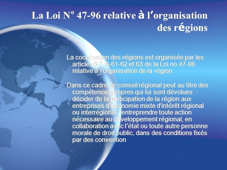 La Loi N° 47-96 relative à l organisation des r é gions La coop é ration des r é gions est organis é e par les articles 5-7-8-61-62 et 63 de la Loi no