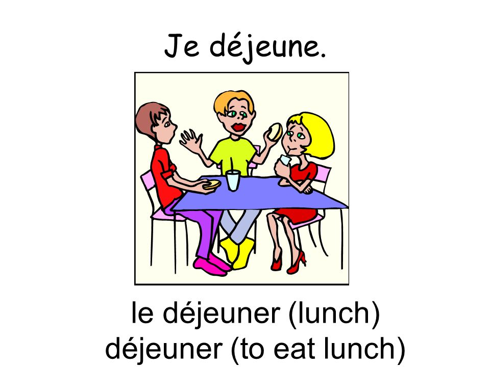 Je déjeune. le déjeuner (lunch) déjeuner (to eat lunch)