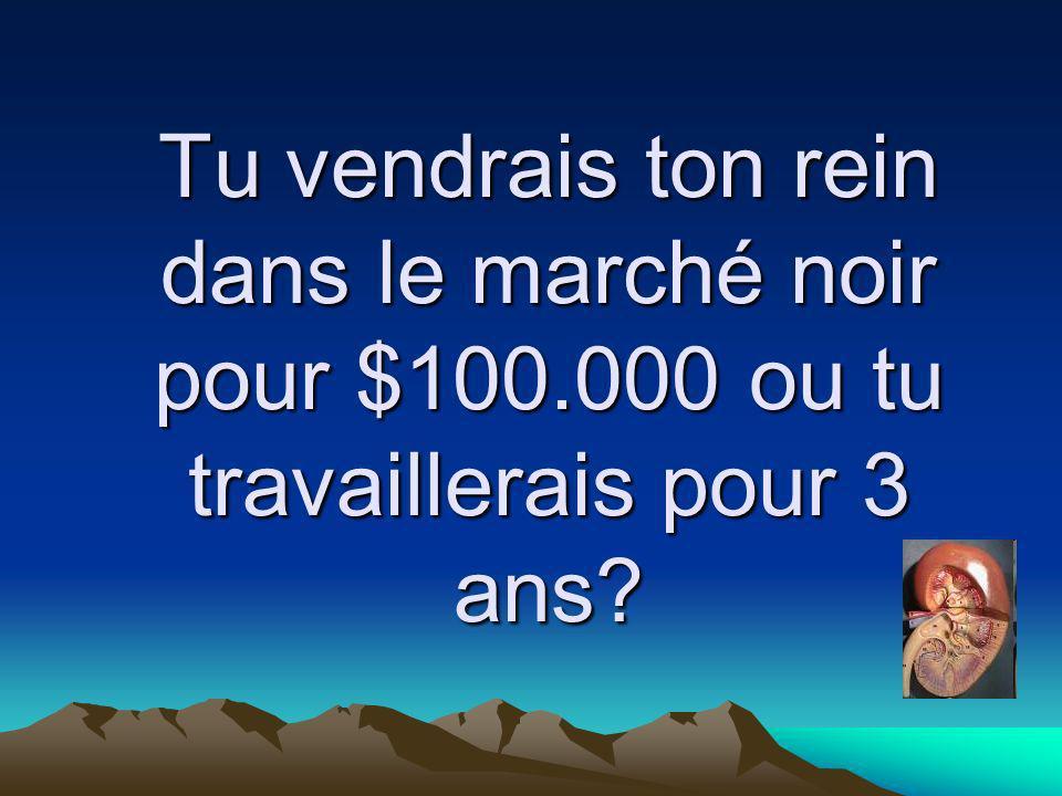 Tu vendrais ton rein dans le marché noir pour $100.000 ou tu travaillerais pour 3 ans?