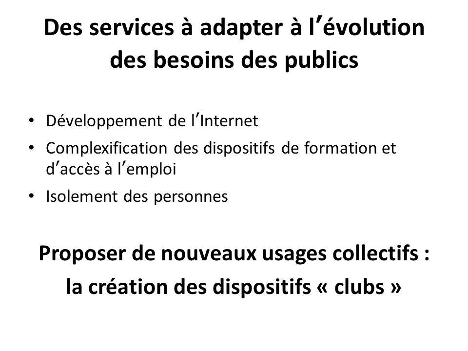 Des services à adapter à lévolution des besoins des publics Développement de lInternet Complexification des dispositifs de formation et daccès à lemploi Isolement des personnes Proposer de nouveaux usages collectifs : la création des dispositifs « clubs »