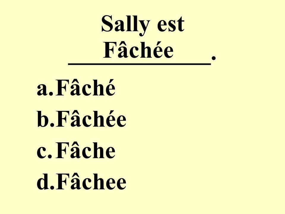 Sally est ____________. a.Fâché b.Fâchée c.Fâche d.Fâchee Fâchée