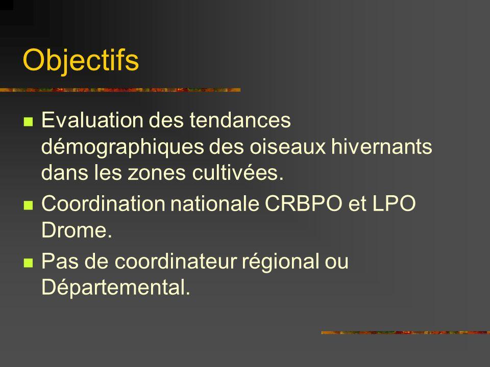 Objectifs Evaluation des tendances démographiques des oiseaux hivernants dans les zones cultivées. Coordination nationale CRBPO et LPO Drome. Pas de c