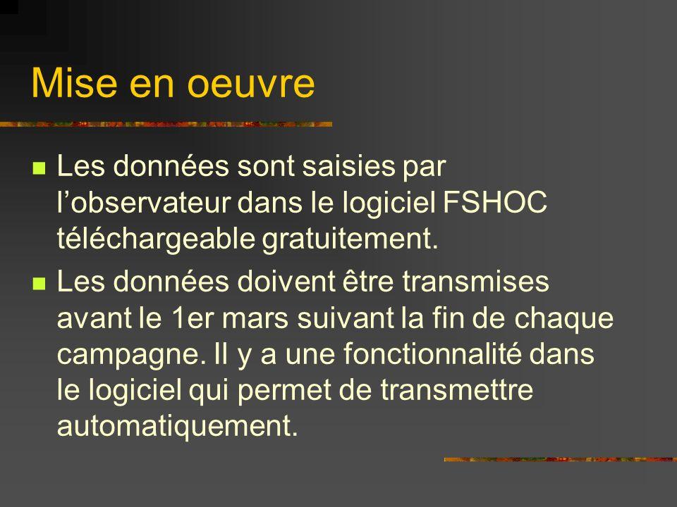 Mise en oeuvre Les données sont saisies par lobservateur dans le logiciel FSHOC téléchargeable gratuitement. Les données doivent être transmises avant