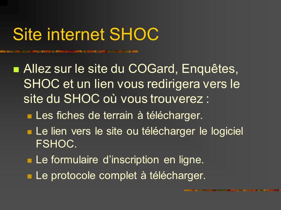 Site internet SHOC Allez sur le site du COGard, Enquêtes, SHOC et un lien vous redirigera vers le site du SHOC où vous trouverez : Les fiches de terra