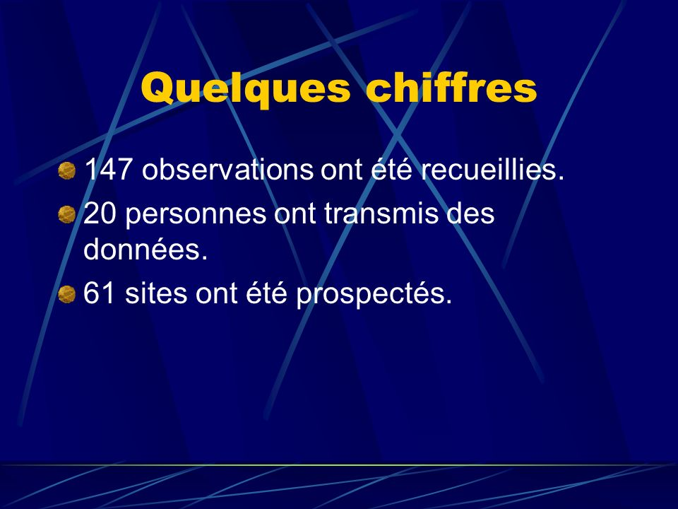 Résultats des prospections 2008 / 2009 61 sites ont été prospectés 30 sites sont inoccupés 18 avec reproduction possible 6 avec reproduction probable 7 avec reproduction certaine 7 nouveau sites occupés ont été découverts.